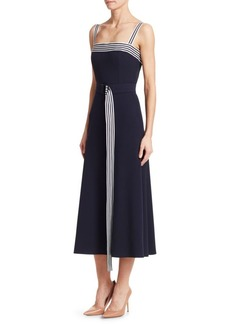 Lela Rose Belted Squareneck Midi Dress