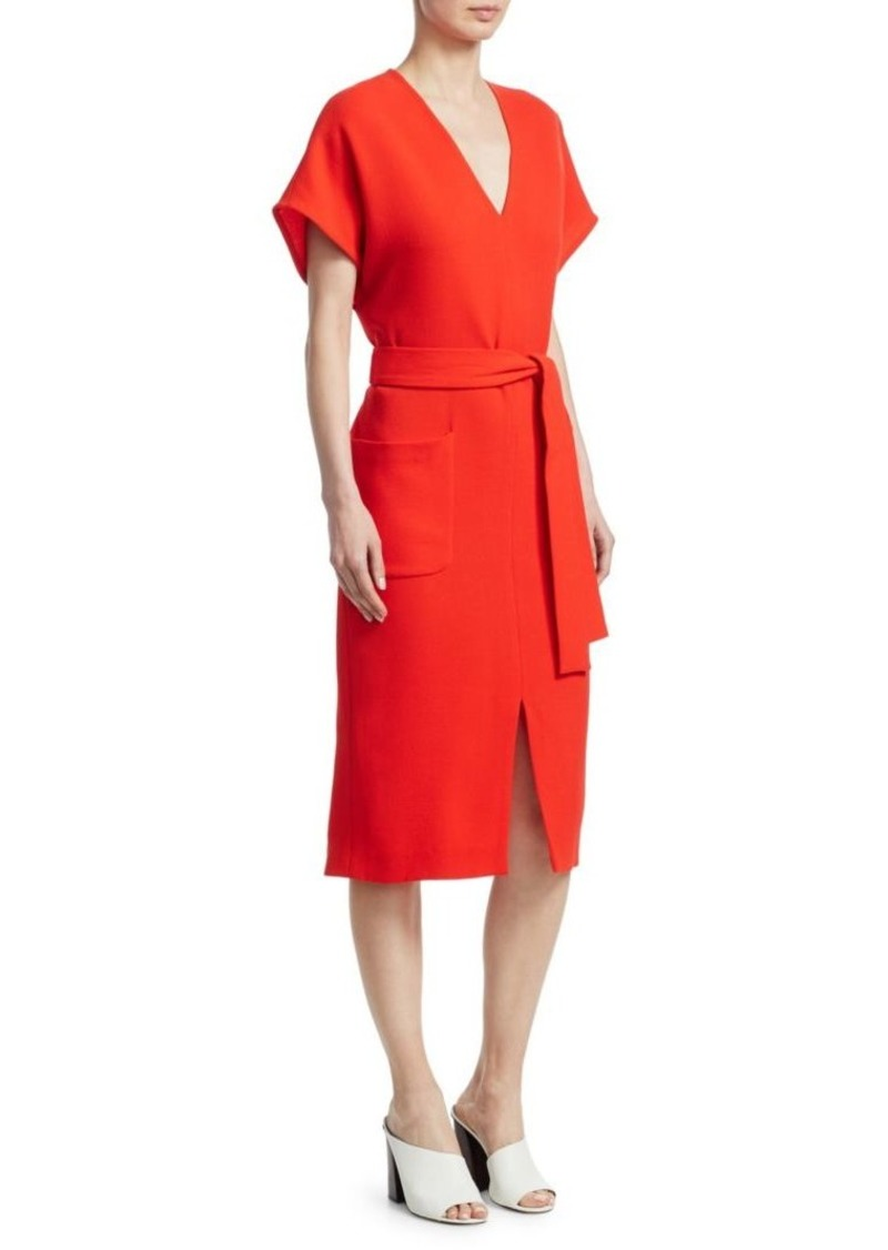 Lela Rose Belted Wool V-Neck Dress