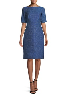 Lela Rose Boat-Neck Elbow-Sleeve Brocade A-Line Cocktail Dress