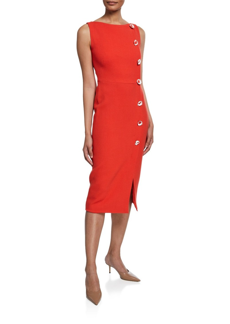 Lela Rose Boat-Neck Sheath Dress with Flower Buttons