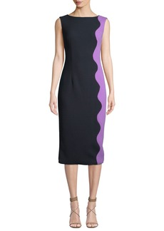 Lela Rose Boat-Neck Sleeveless Wave-Pattern Sheath Dress