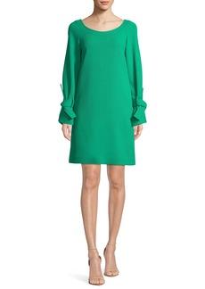 Lela Rose Boat-Neck Tie-Cuff Long-Sleeve Crepe Tunic Dress