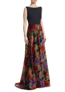 Lela Rose Boatneck Fringe Gown