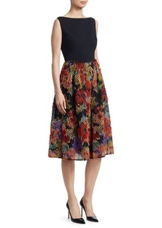 Lela Rose Boatneck Tassel-Skirt A-Line Dress