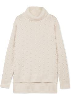 Lela Rose Bobble-knit Wool And Cashmere-blend Turtleneck Sweater