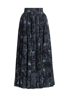 Lela Rose Butterfly-Print Cotton Poplin Pleated Midi Skirt