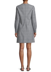 Lela Rose Button-Front Long-Sleeve Check Tunic