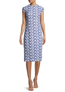 Lela Rose Cap-Sleeve Dotted Floral-Lace Fitted Sheath Dress