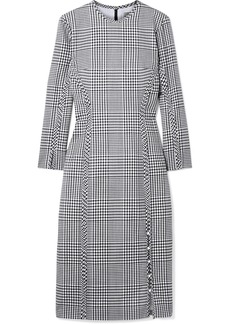 Lela Rose Checked wool midi dress