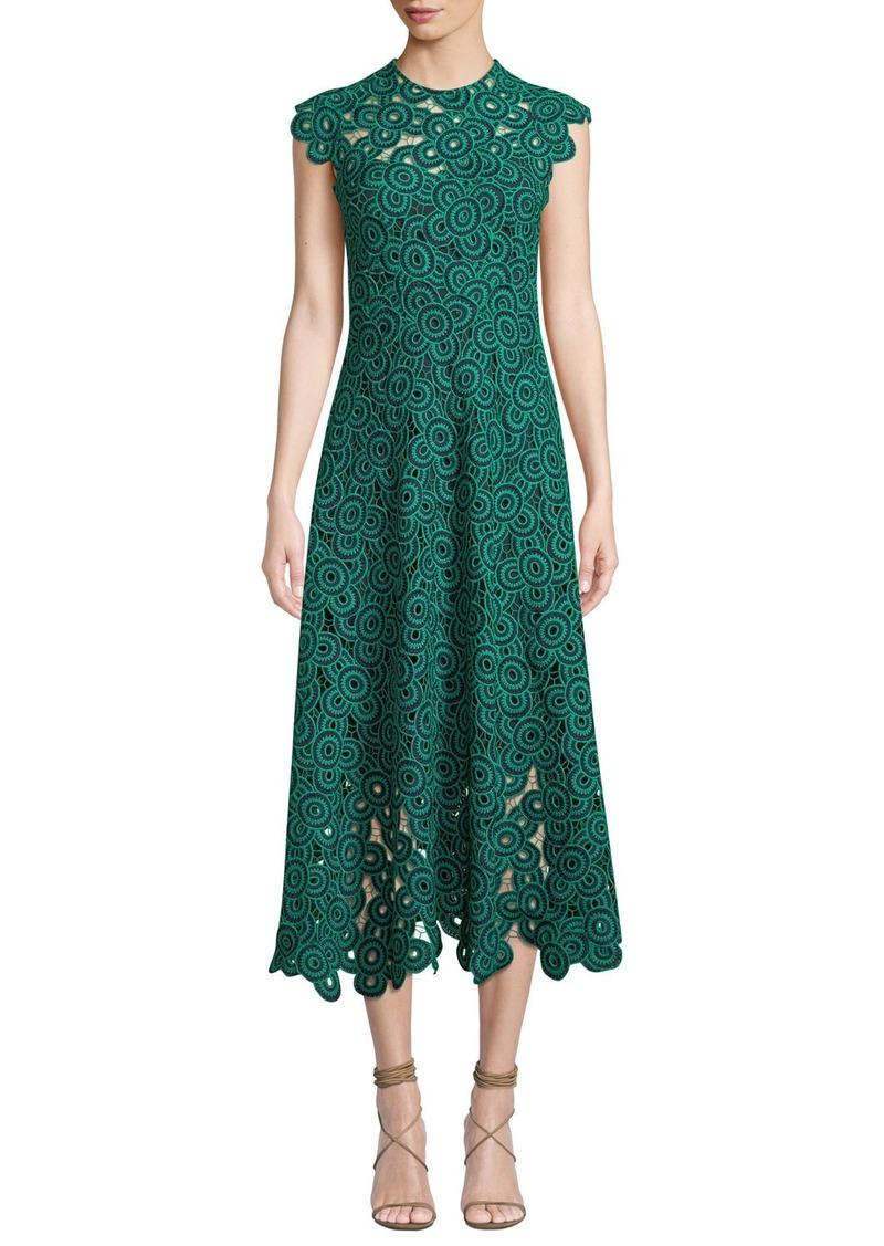 Lela Rose Circle-Guipure Lace Cap-Sleeve A-Line Midi Dress