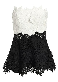 Lela Rose Colorblock Floral Lace Top