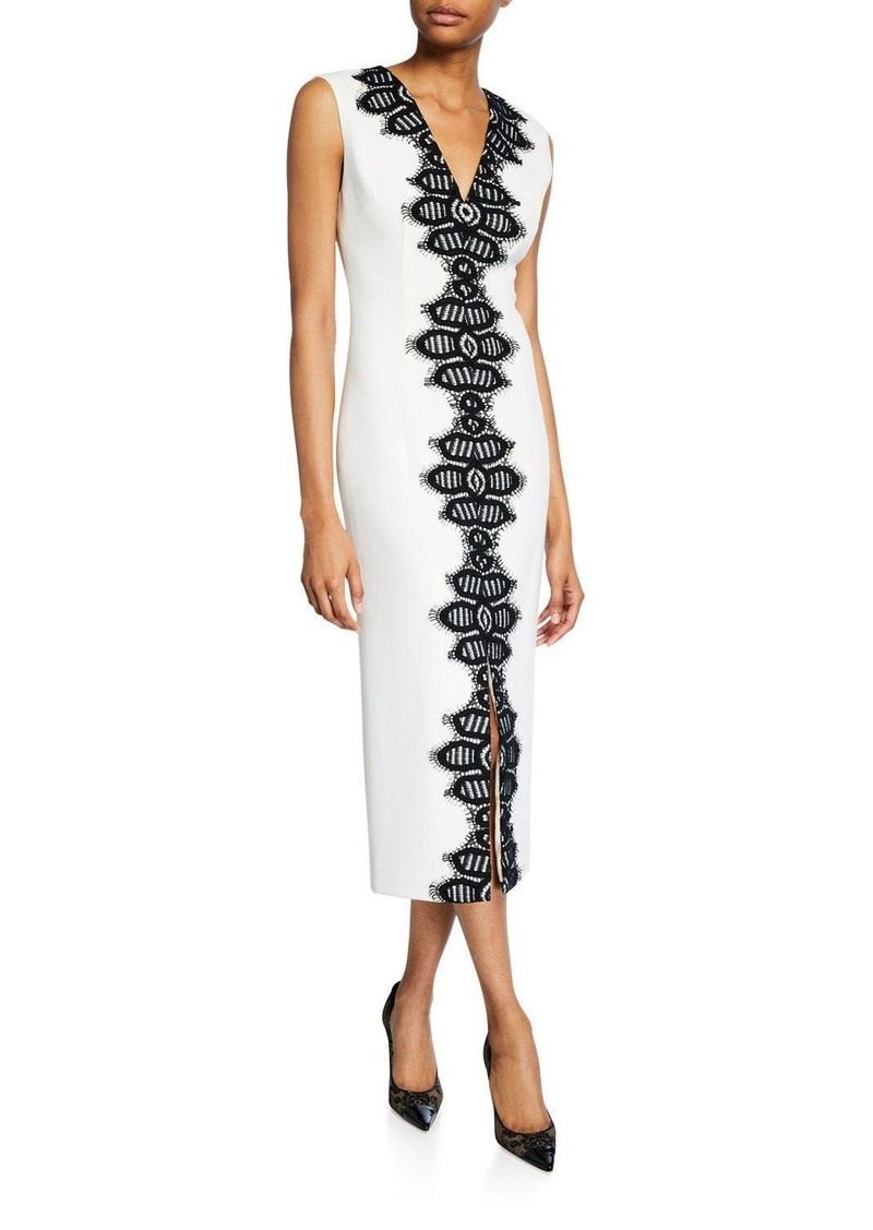 Lela Rose Corded Lace Detail Sheath Dress