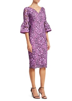 Lela Rose Corded Lace Flounce Sleeve Dress