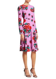 Lela Rose Crepe Rose Print Panel Dress