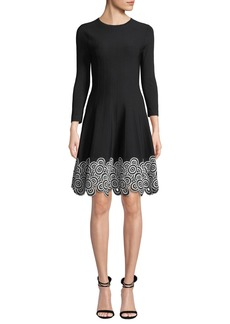 Lela Rose Crewneck Long-Sleeve Fit-and-Flare Dress w/Circle Lace Hem