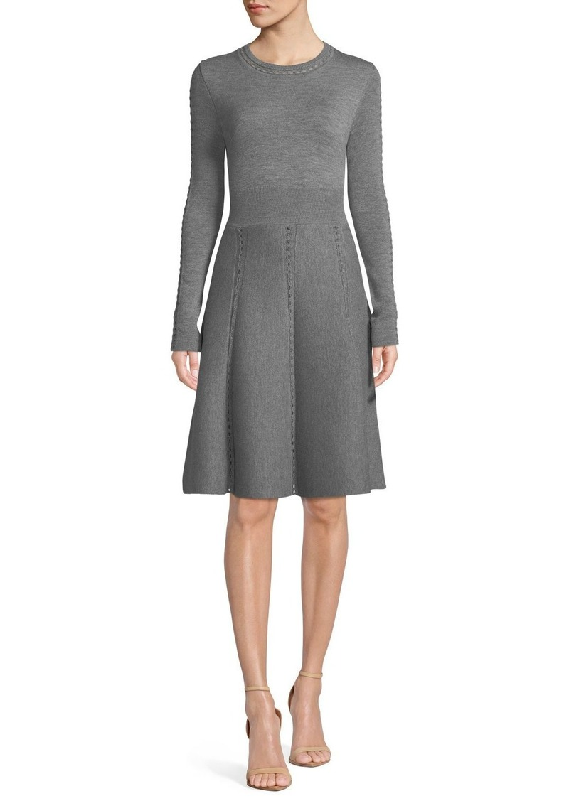 Lela Rose Crewneck Long-Sleeve Fit-and-Flare Loop-Stitch Knit Dress
