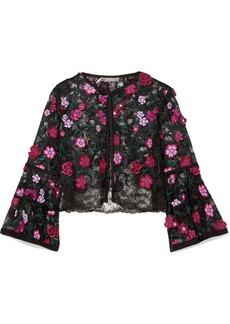 Lela Rose Cropped Appliquéd Embroidered Lace Jacket