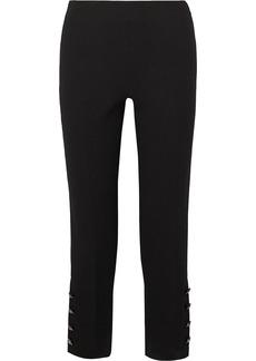 Lela Rose Cropped Crystal-embellished Wool-blend Crepe Straight-leg Pants