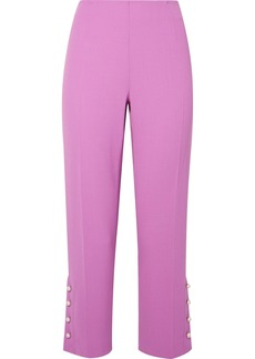 Lela Rose Cropped Faux Pearl Embellished Wool-blend Crepe Straight-leg Pants