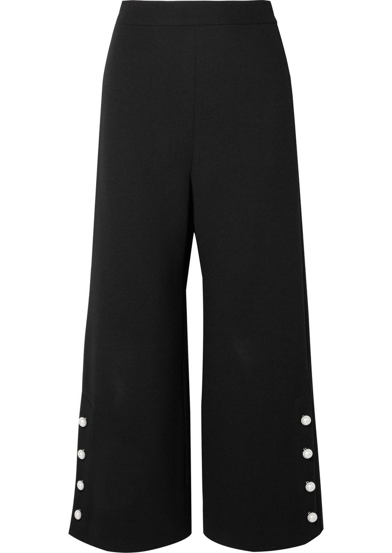 Lela Rose Cropped faux pearl-embellished wool-blend crepe wide-leg pants