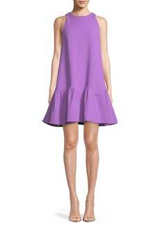 Lela Rose Detachable-Collar Sleeveless Flounce-Hem Trapeze Dress