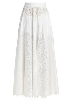 Lela Rose Diamond Eyelet Full Maxi Skirt