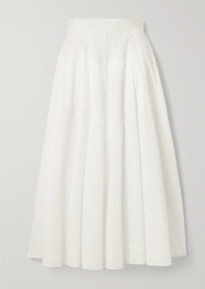 Lela Rose Embroidered Cotton-blend Poplin Midi Skirt