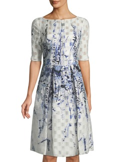 Lela Rose Embroidered Elbow-Sleeve Fit & Flare Dress
