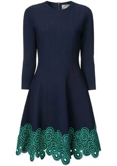 Lela Rose embroidered flared dress