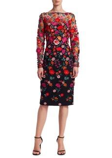 Lela Rose Embroidered Long-Sleeve Dress
