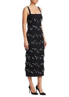 Lela Rose Embroidered Sheath Dress