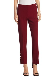Lela Rose Faux-Pearl Cropped Wool Pants