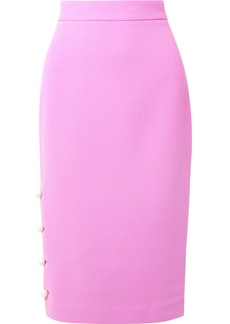 Faux pearl-embellished wool-blend crepe pencil skirt