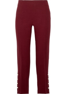 Lela Rose Faux Pearl-embellished Wool-blend Crepe Slim-leg Pants