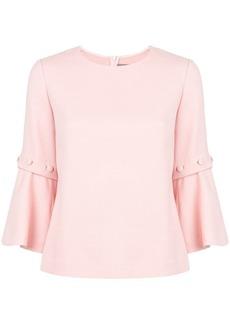 Lela Rose flared three-quarter sleeve blouse