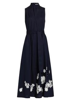 Lela Rose Floral Applique Cotton Midi Dress