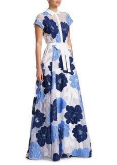 Lela Rose Floral Belted Shirt Gown