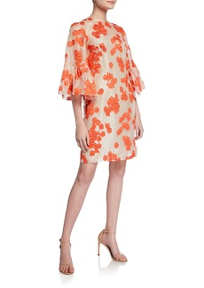 Lela Rose Floral-Embroidered Flutter-Sleeve Tunic Dress