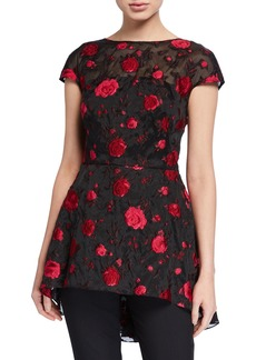 Lela Rose Floral Embroidered Open-Back Evening Top