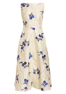 Lela Rose Floral Fil Coupé Boatneck Dress