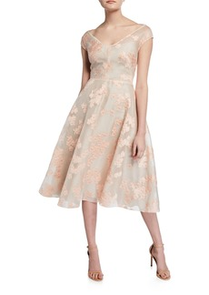 Lela Rose Floral Jacquard Full-Skirt Dress