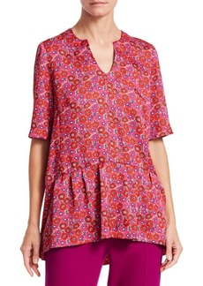 Lela Rose Floral Peplum Top