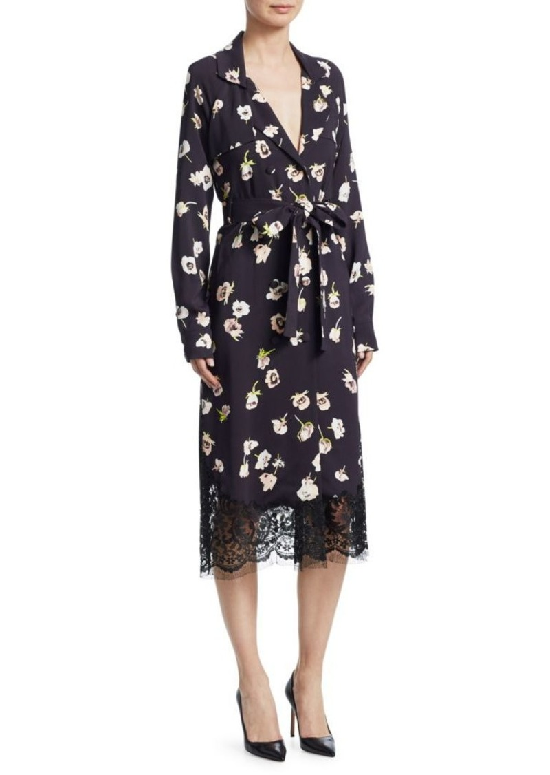 Lela Rose Floral-Print Double Breasted Wrap Dress