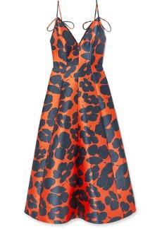 Lela Rose Floral-print Satin Midi Dress