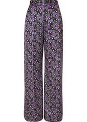 Lela Rose Floral-print Satin-twill Wide-leg Pants