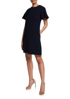 Lela Rose Flower Button-Back Flutter-Sleeve Tunic Dress