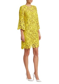 Lela Rose Flutter Sleeve Lace Shift Dress