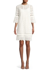 Lela Rose Flutter-Sleeve Shift Floral-Lace Tunic Dress