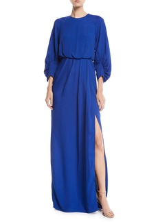 Lela Rose Full-Sleeve Front-Slit Crepe Column Evening Gown