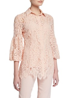 Lela Rose Full-Sleeve Lace Shirt